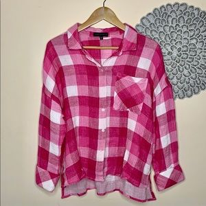 NWOT Sanctuary Pink Plaid Flannel Button Down Top